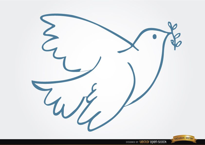 White Dove Laurel Peace Symbol Vector Download
