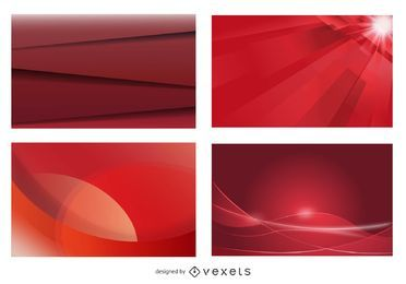 Conjunto de fondo de tarjeta de visita roja brillante