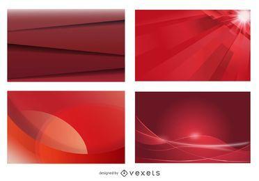 Glühender roter Visitenkarte-Hintergrund-Satz