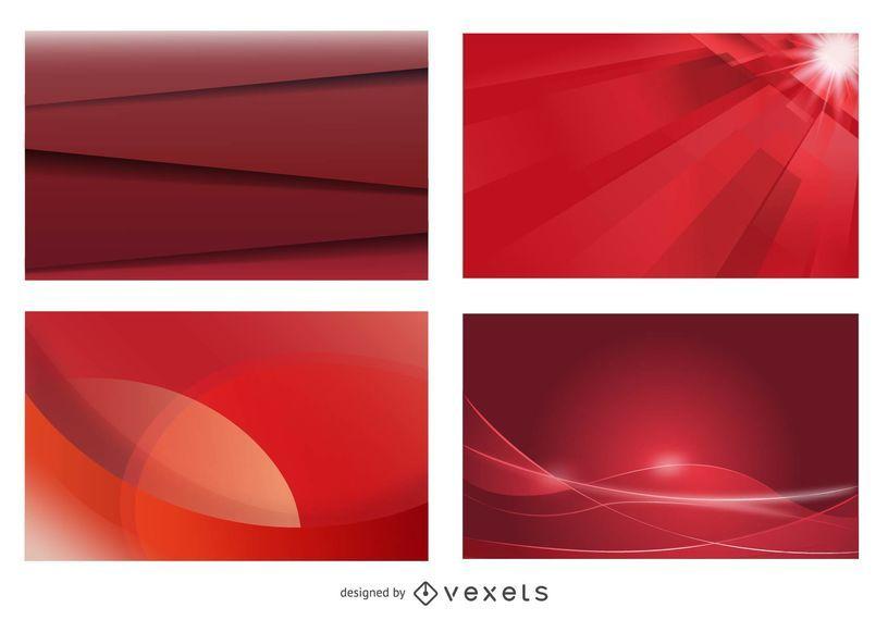 Conjunto de fondo rojo brillante tarjeta de visita