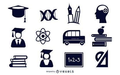 Conjunto de iconos planos educativos en blanco y negro