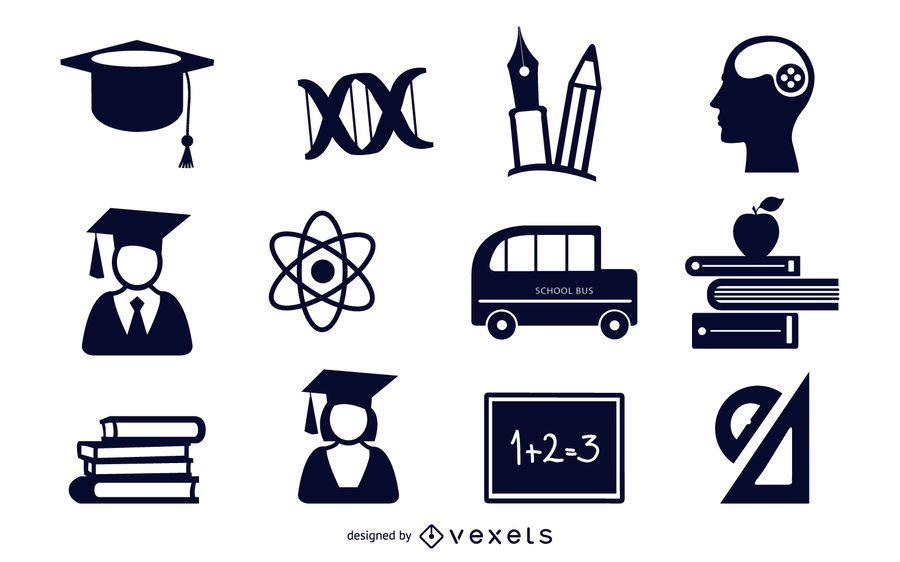Conjunto de ícones plana educacional preto & branco