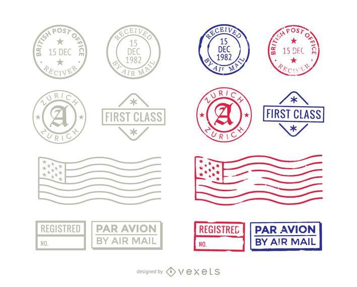 Paquete de sellos angustiados de primera clase