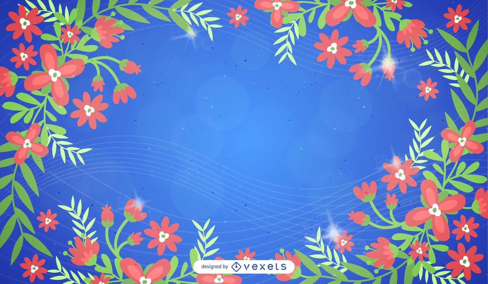 Marco floral remolino sobre fondo azul claro