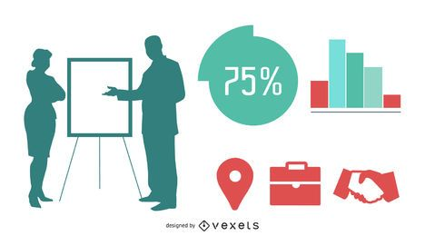 Gente de negocios de silueta con gráficos de información