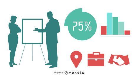 Silhouette Geschäftsleute mit Info-Grafiken
