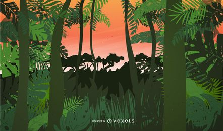 Amanecer paisaje lado de la selva