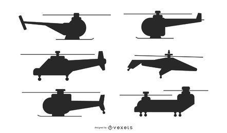 Vários pacotes de helicóptero silhueta
