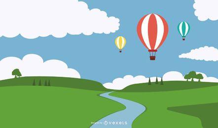 Heißluftballone über gewelltem Rand-Rasen