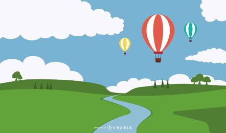 Hot Air Balloons Above river illustration