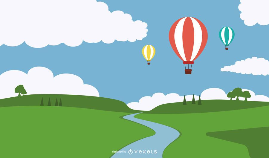 Hot Air Balloons Above Wavy Edge Lawn