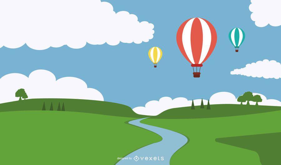 Ilustración de globos aerostáticos sobre el río