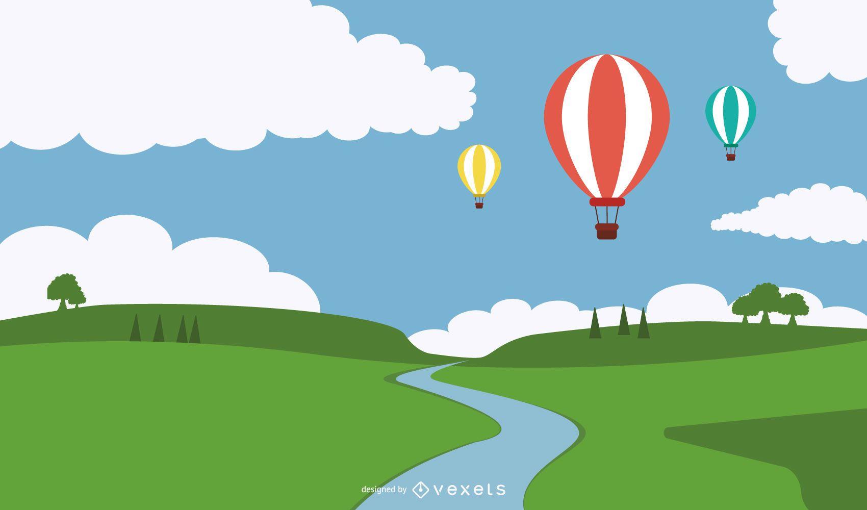 Hot Air Balloons Above river illustration