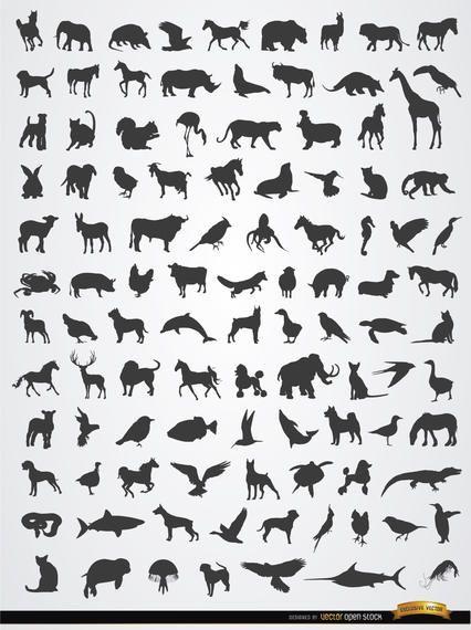 Siluetas de animales terrestres, aéreos y acuáticos.