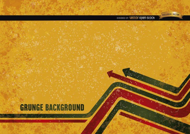 Fondo de grunge amarillo con flechas modernas