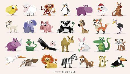 Pack de dibujos animados de animales domésticos y salvajes.
