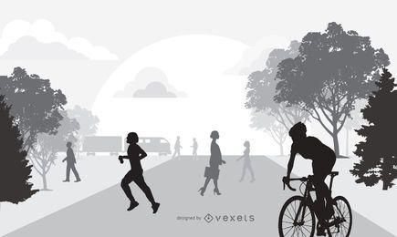 Leben am frühen Morgen des Schattenbildes in der Stadt