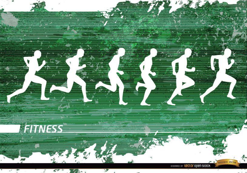 Jogging siluetas grunge fondo