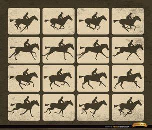 Quadros de movimento de silhueta de corrida de cavalos
