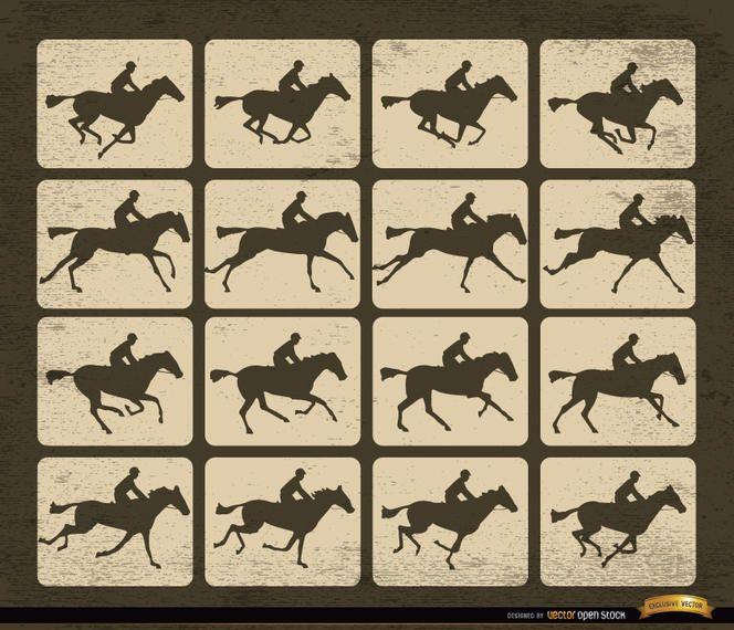 Cuadros de movimiento de silueta de carreras de caballos