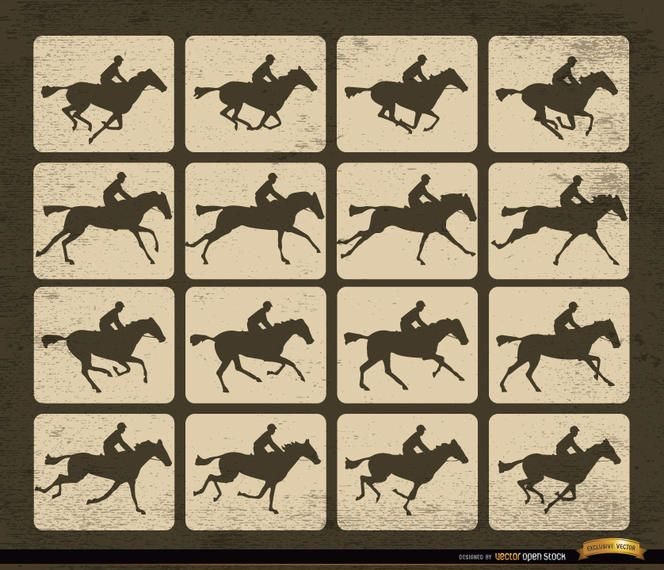 Horse racing silhouette motion frames