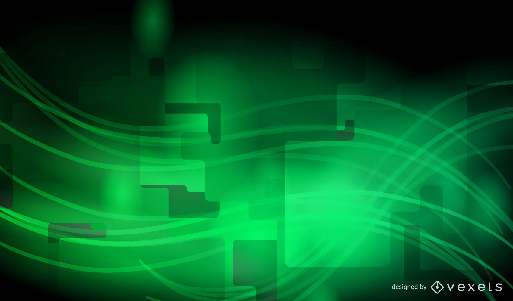 Modern Abstract Green Waves on Grey Background