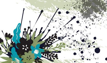 Fundo Floral Abstrato Colorido Splattered