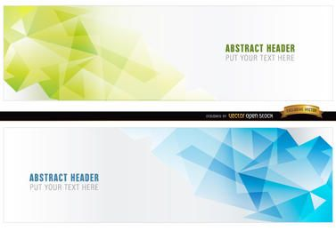 Abstract blue green polygonal headers