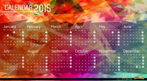 Fundo de polígono de calendário de 2015