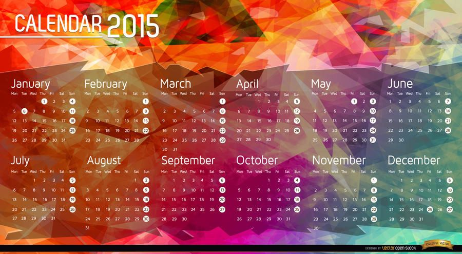 Kalender-Polygonhintergrund 2015