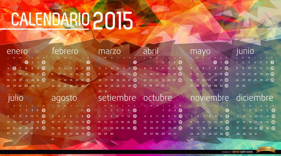 2015 Calendar polygon background Spanish