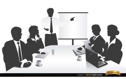 Silhuetas de pessoas de reunião de negócios