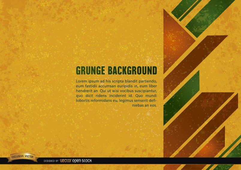 Fondo amarillo grunge con formas geométricas.