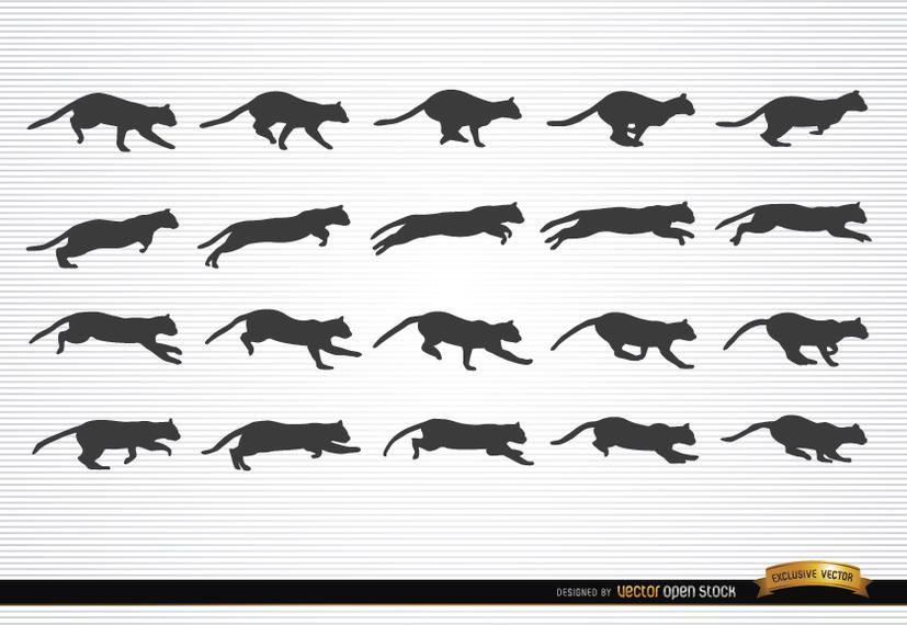 Gato animal en movimiento siluetas