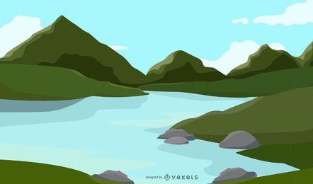 Naturaleza limpia y fresca con paisaje
