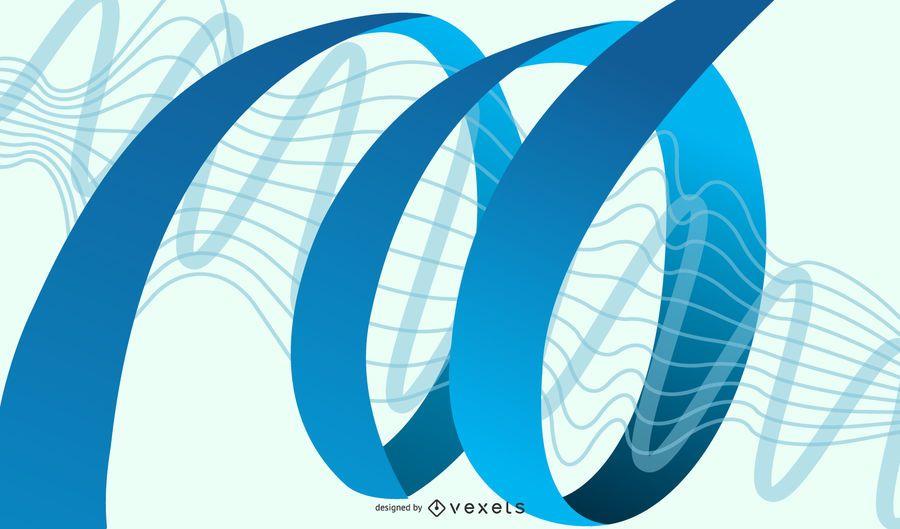 Ondas azuis abstratas amarradas por linhas espirais