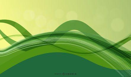 Fondo de ondas verdes fluorescentes abstractas