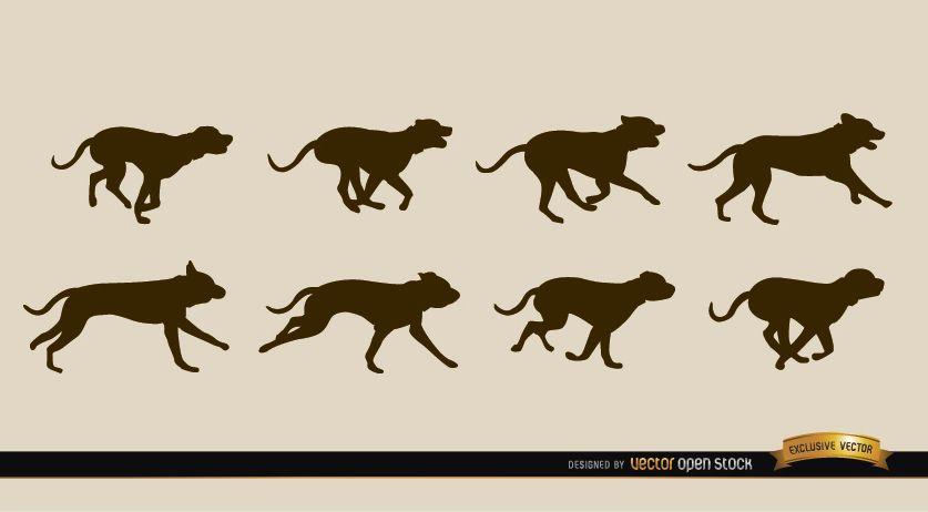Siluetas de secuencia de movimiento de perro