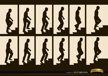 Mann klettert Treppenfolge Rahmen Silhouetten