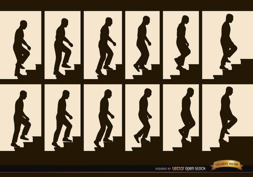 Homem, escalando, escadas, quadros seqüência, silhuetas