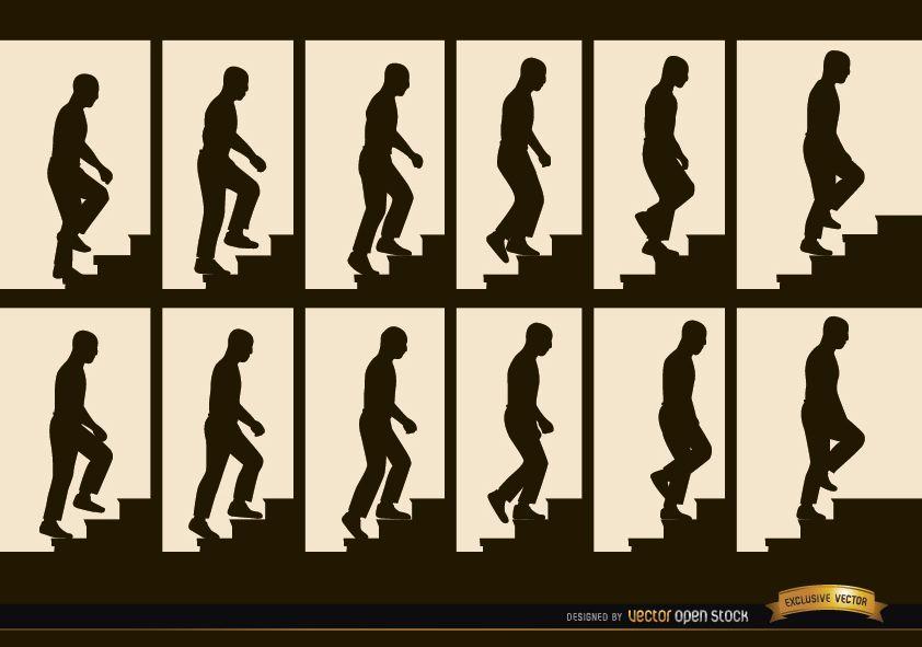 Hombre subiendo escaleras secuencia marcos siluetas