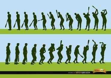 Secuencia de jugador de béisbol bateando siluetas.