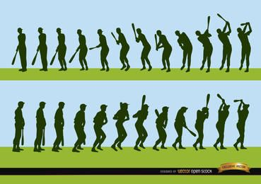 Secuencia del jugador de béisbol siluetas de bateo