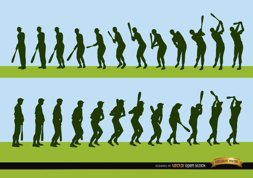 Sequence of baseball player batting silhouettes