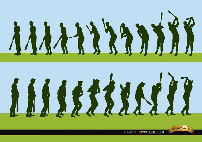 Secuencia de siluetas de bateo de jugador de b?isbol