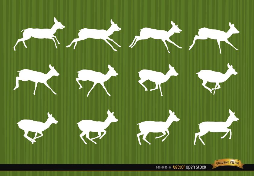 Deer running motion frames silhouettes - Vector download