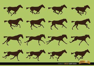 Siluetas de secuencia de movimiento de galope de caballo