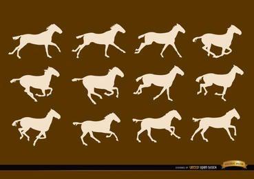 Secuencias de correr de caballos cuadros de siluetas.