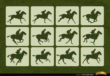 Cuadros de movimiento deportivo de carreras de caballos