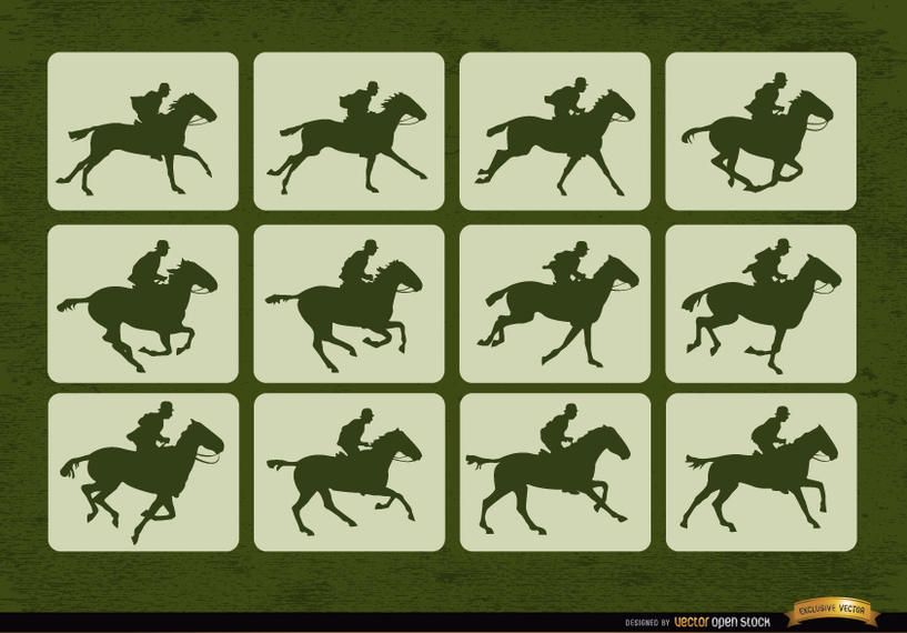 Quadros de movimento de esporte de corrida de cavalo